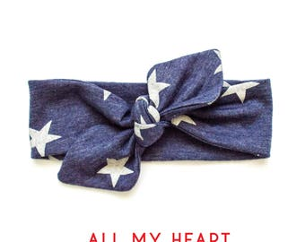 Top Knot Baby Headband, Baby Head Wrap, Baby Girl Headband, Toddler and Adult Headband, Blue with White Stars, 4th of July, Summer, BBQ