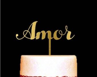 Amor Cake Topper for Wedding, Gold Cake Topper, Anniversary Cake Topper, Customized Monogram Wedding Cake Decoration