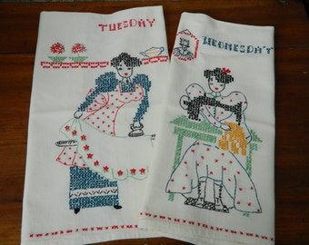 Vintage Days of the Week Tea Towels, Set of 7, Days of the Week Kitchen Towel, Hand Embroidered, Thick Crisp Cotton, Never Used, Exquisite