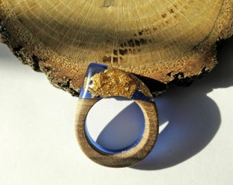Wood Resin Ring, Made in Italy, Handmade Ring, B.Colors n.1, Unique piece, Wood resin jewelry, Handmade Jewelry