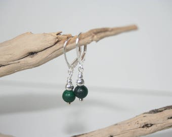 Earrings Silver 925 and malachite