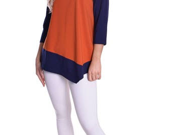 Woman's Tunic Top Loose Fit for Spring Navy Blue Orange