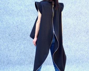 Black asymmetric sleeveles top/black asymmetric zipper vest/plus size tunic/asymmetric maxi tunic/party top