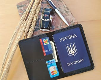 Passport cover Leather cover Passport walle Document cover Travel wallet Card case Personal cover Passport holder Mens gift