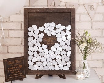 Personalised wedding drop box Drop Top Wedding Guest Book Alternative Wedding Sign Rustic wedding guest book ideas Wooden Hearts Silver