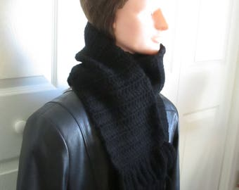 Crocheted Black Scarf