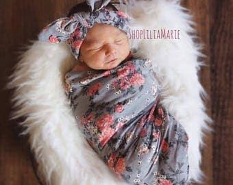 Swaddle Blanket Grey Floral Swaddle Grey Swaddle Set with Free Headband