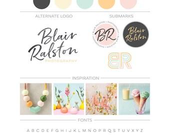 Branding Package, Initials Logo Design, Photography Logo Watermark, Modern Minimalist Logo Kit, Fashion Blog Boutique Premade Branding Kit