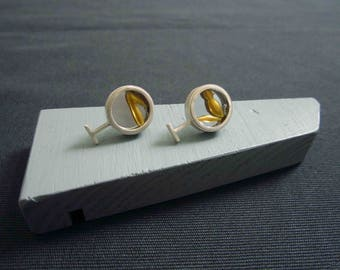 T time recovery studs. Kintsugi repaired mirror set in recycled silver