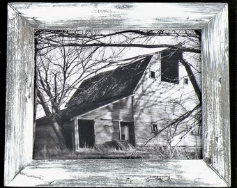 Black and White Vintage Style Iowa Barn Original Photographic Print in Handmade Farmhouse White Washed Frame, Rustic Antiqued White Frame