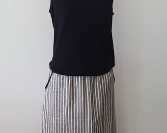 Black Stripe A Line Skirt with Stretch Banded Waist