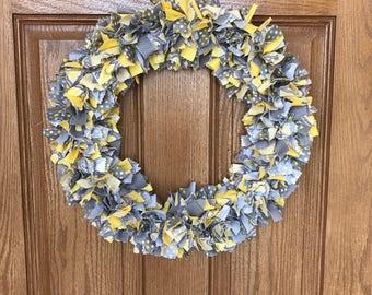 Yellow and Gray Wreath / Yellow Rag Wreath / Gray Rag Wreath / Yellow Fabric Wreath / Yellow and Gray Rag Wreath / Yellow Cloth Wreath