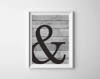Ampersand Wall Decor, Minimalist Poster, Farmhouse Sign, Ampersand Poster, Ampersand Wall Print, Ampersand Home Decor, Ampersand Printable