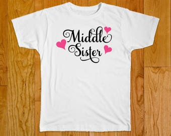 Middle Sister Shirt - Personalized with Name - Part of the Matching Big Middle Sister Swirl Heart Shirt Set