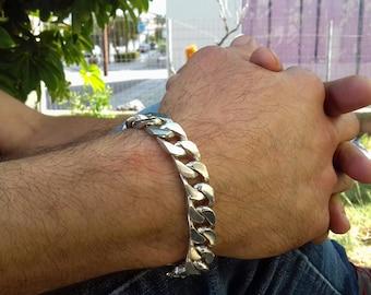 mens bracelet Curb Silver 925.Handmade.Guourmet bracelet .gift for him, gift for her,jewellery mens,jewellerysale