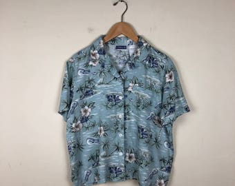 Vintage Floral Button Up Size Medium, Cropped Floral Top, Hawaiian Button Up