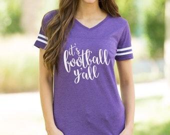 It's Football Y'all Varsity Tee Purple..Gameday Tee..Printed Tailgating Tee..Fall Tee..Preppy Game Day Tee..Purple Varsity Stripe Shirt..LSU