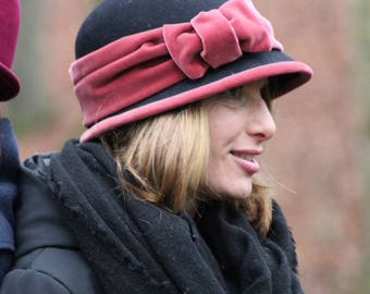 Black felt hat with pink velvet