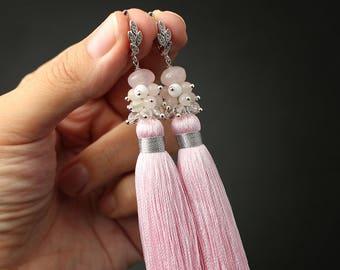 Tassel Earrings Pink Earrings Tassels Jewelry Long Earrings Statement Earrings Fringe Earrings Everyday Earrings Rose Quartz Earrings