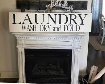 Huge laundry sign / 48 inches by 12 inches /wash dry fold sign / laundry room sign / farmhouse sign / hand painted sign /  bath sign