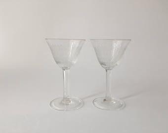 2 Vintage Liqueur Glasses