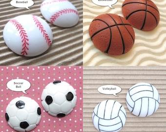 "1"" Hand Painted Baseball Basketball Soccer Ball Volleyball Resin Flatbacks Ball Game MBA Cabochon"