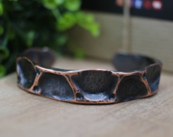 "Hammered Air Chased Copper Cuff Bracelet, 1/2"" Wide"