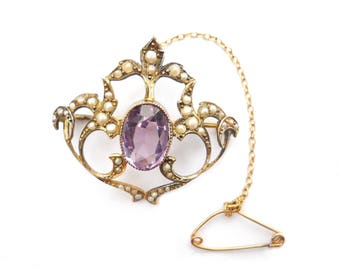 Antique Victorian amethyst and seed pearl 9ct gold brooch pendant estate jewelry bridal engagement wedding