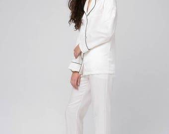 Luxury Silk pajama set Silk long pajamas Silk pyjamas Silk loungewear White pajamas Silk pajama white Gift for woman Wife gift