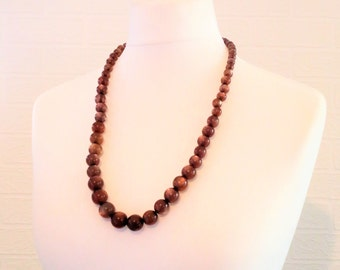 Mottled Brown Marble Bead Necklace/no fastener/Vintage Necklace/circa 1960s