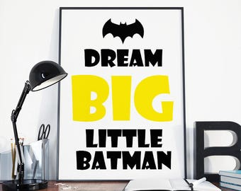 Dream big, little batman, batman nursery, superhero nursery, batman wall art, batman art, nursery decor, modern nursery, batman baby, batman