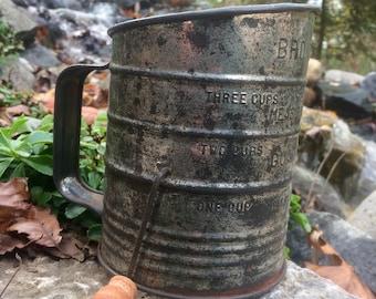 Bromwell's Antique Measuring Flour Sifter/ Farmhouse Decor/ Antique Kitchenware