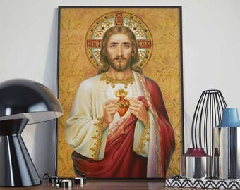 Sacred Heart of Nicolas Cage - Poster - Nicholas Cage, Jesus Christ, One True God, Lord