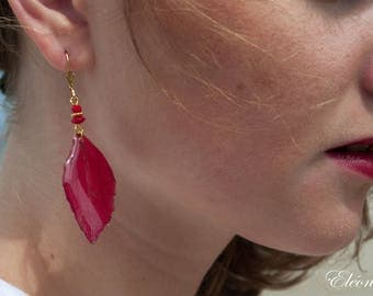 Earrings - Automn Leaf - 18K Gold Plated - Coral
