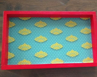 Yellow Lotus Wooden Tray