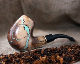 """Smoking pipe """"Lightning"""" with Turquoise -Tobacco smoking pipe-Tobacciana pipe -Exclusive Wood Pipe -Smoking bowl - Wood carved smoking pipes"""