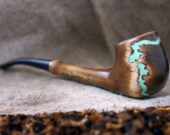 """Smoking pipe""""Lightning """"with Turquoise -Long Pipe-Tobacco smoking pipe - Pipe-Wooden pipe-Tobacco bowl - Wooden Pipes -Exclusive Wood Pipes"""