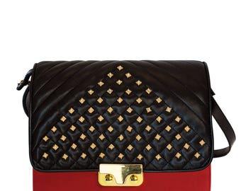 Red leather MiniBag Shoulder bag with Metropolitan flap-red leather women's handbag-hand made shoulder bag-coral