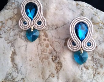 soutache earrings blue heart, soutache, soutache jewelry, soutache jewels, handmade earrings, soutache embroidery, stud earrings