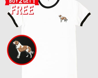 St Bernard Dog Embroidered Ringer T-Shirt by 24PlanetsStudio