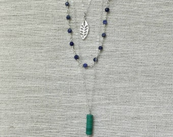 Triple-Strand Silver Necklace with Blue and Green Gemstones