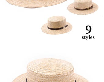Boater straw Hat,  women's or men's hat