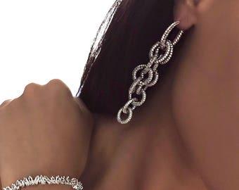 MOLTEN EARRING - chain earrings, drop earrings, evening earrings, white gold earrings, statement earrings, diamond earrings