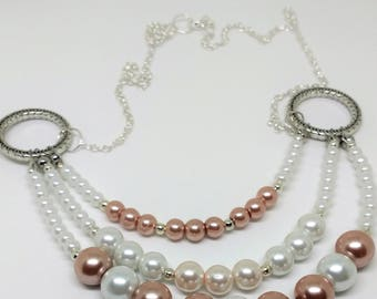 Pink and White 3 strand Necklace