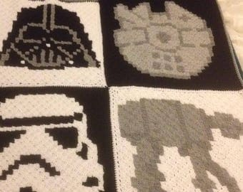 Star Wars crochet blanket storm trooper Darth Vader quirky and unique