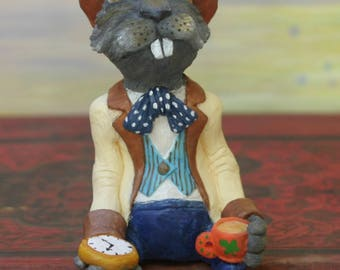 March Hare figurine / the Hare in March/Alice's Adventures in Wonderland/mad hatter/tea party/mad hatter party/Alice / Wonderland/art doll/art