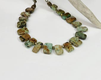 Turquoise Necklace | Turquoise | Turquoise and Brass | Rustic Necklace | Country Chic Necklace | Earthy Necklace | Everyday Necklace