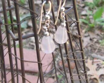 Rose quartz teardrop earrings on sterling silver