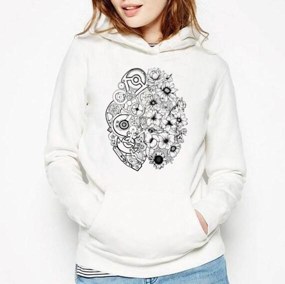 Left Brain Right Brain | Unisex Heavy Blend Hooded Sweatshirt | Graphic Sweatshirt | Pen and Ink art| Tattoo Style| Original art| ZuskaArt