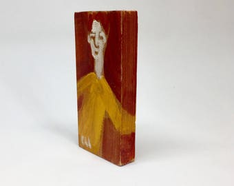 Small painting on wood, decorative, gift - young to the yellow sweater